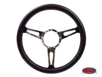 more details on 3-slot black leather steering wheel, 380mm, 9 bolt - Various aircooled