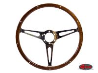 more details on 3 slot, mahogany steering wheel, 380mm, 6 bolt - Various aircooled