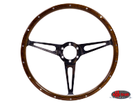 more details on 3 slot, mahogany steering wheel, 380mm, 6 bolt- Various aircooled