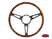 more details on 3 slot, mahogany steering wheel, 380mm, 9 bolt - Various aircooled