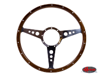 more details on 9 hole, mahogany steering wheel, 380mm, 9 bolt - Various aircooled