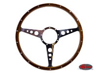 more details on 9 hole, mahogany steering wheel, 405mm, 9 bolt - Various aircooled