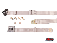 more details on 3-Point non retractable seat belt, grey with chrome buckle