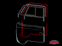 more details on Cab door to body seal set for both doors, economy, black - Type 2, 50>67