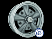 more details on Alloy wheel, Crest, silver & polished - Various aircooled