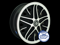 more details on Alloy wheel, Cosmic, black & polished, TUV approved - Various aircooled