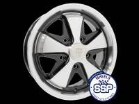 more details on Alloy wheel, Fooks, 4.5j, black & polished, TUV approved - Various aircooled