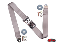 more details on 2-Point lap seat belt, grey with chrome buckle